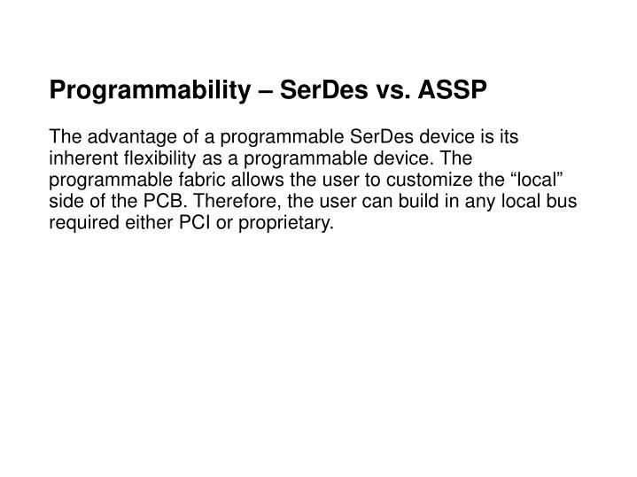 Programmability – SerDes vs. ASSP