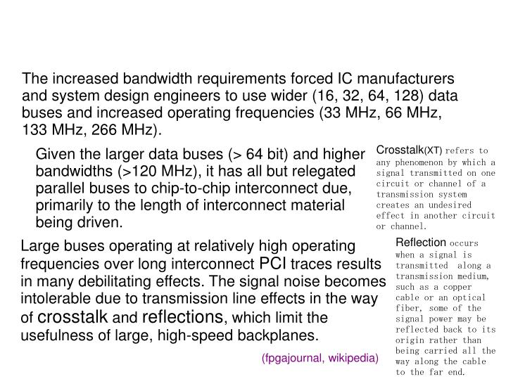 The increased bandwidth requirements forced IC manufacturers and system design engineers to use wider (16, 32, 64, 128) data buses and increased operating frequencies (33 MHz, 66 MHz, 133 MHz, 266 MHz).