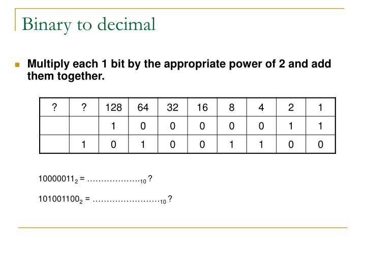 Binary to decimal