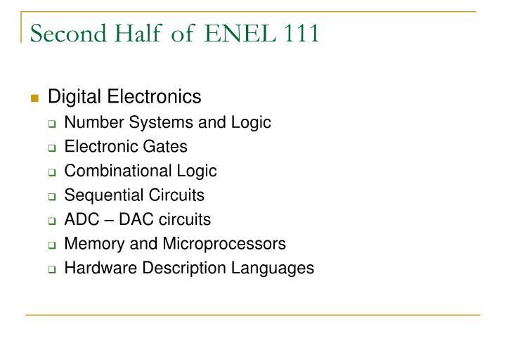 Second Half of ENEL 111