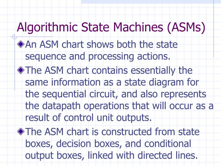 Algorithmic State Machines (ASMs)