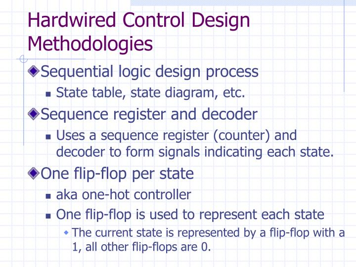 Hardwired Control Design Methodologies