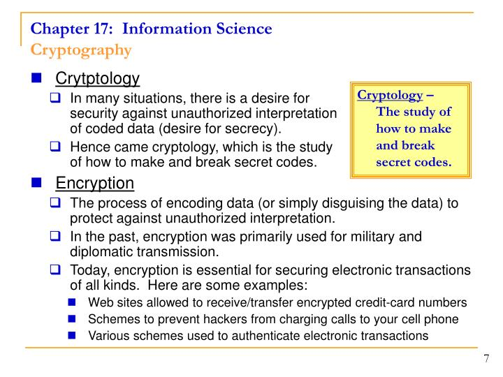 Chapter 17:  Information Science