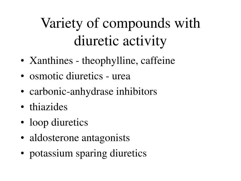 Variety of compounds with diuretic activity