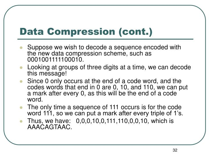Data Compression (cont.)