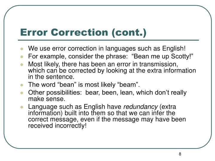 Error Correction (cont.)