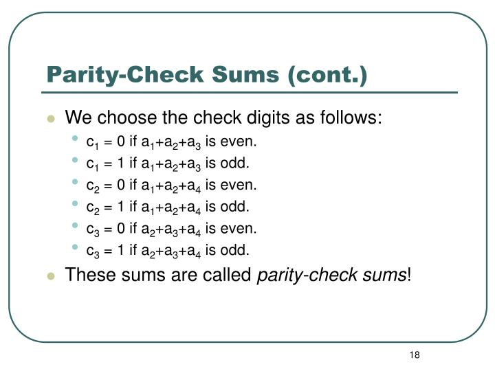 Parity-Check Sums (cont.)