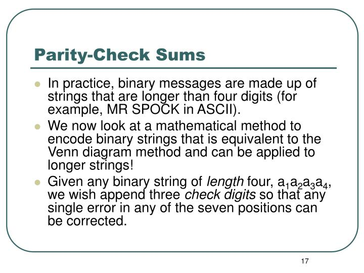 Parity-Check Sums
