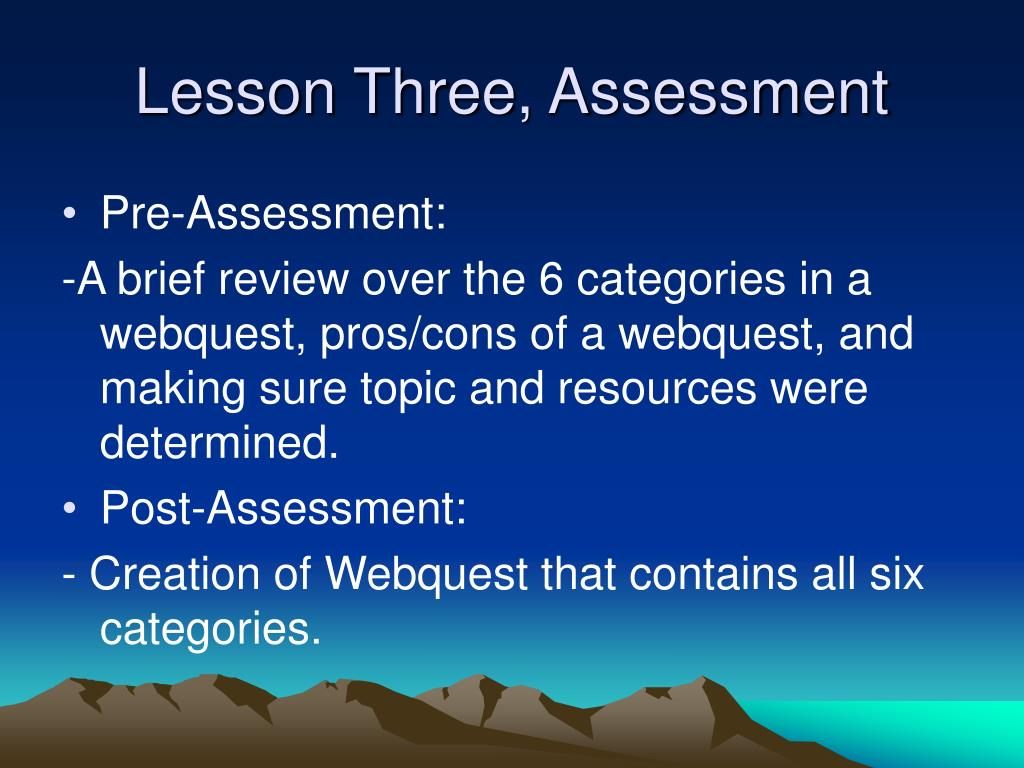 Lesson Three, Assessment