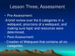 lesson three assessment