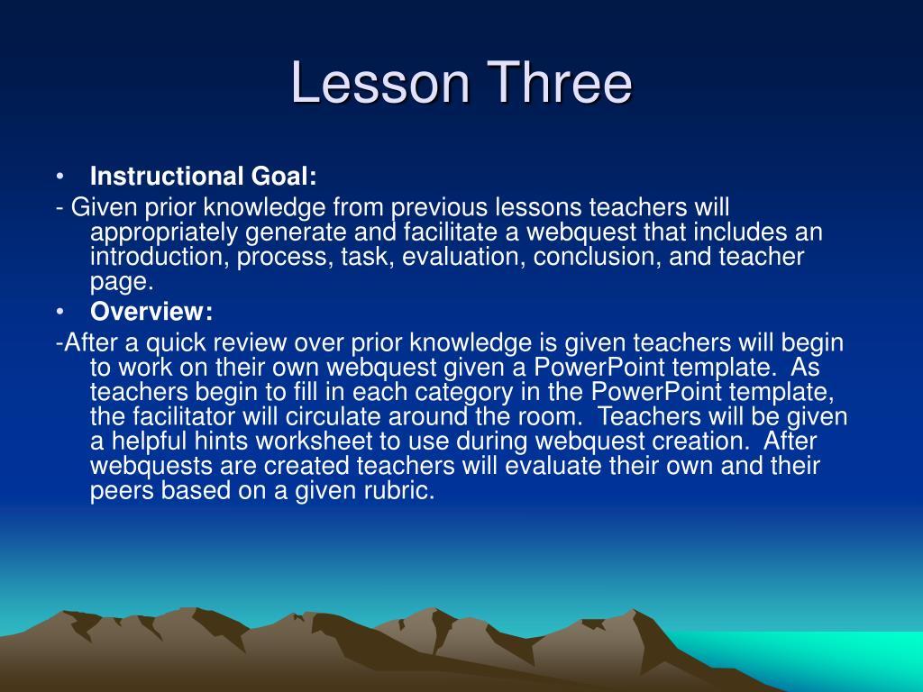 Lesson Three