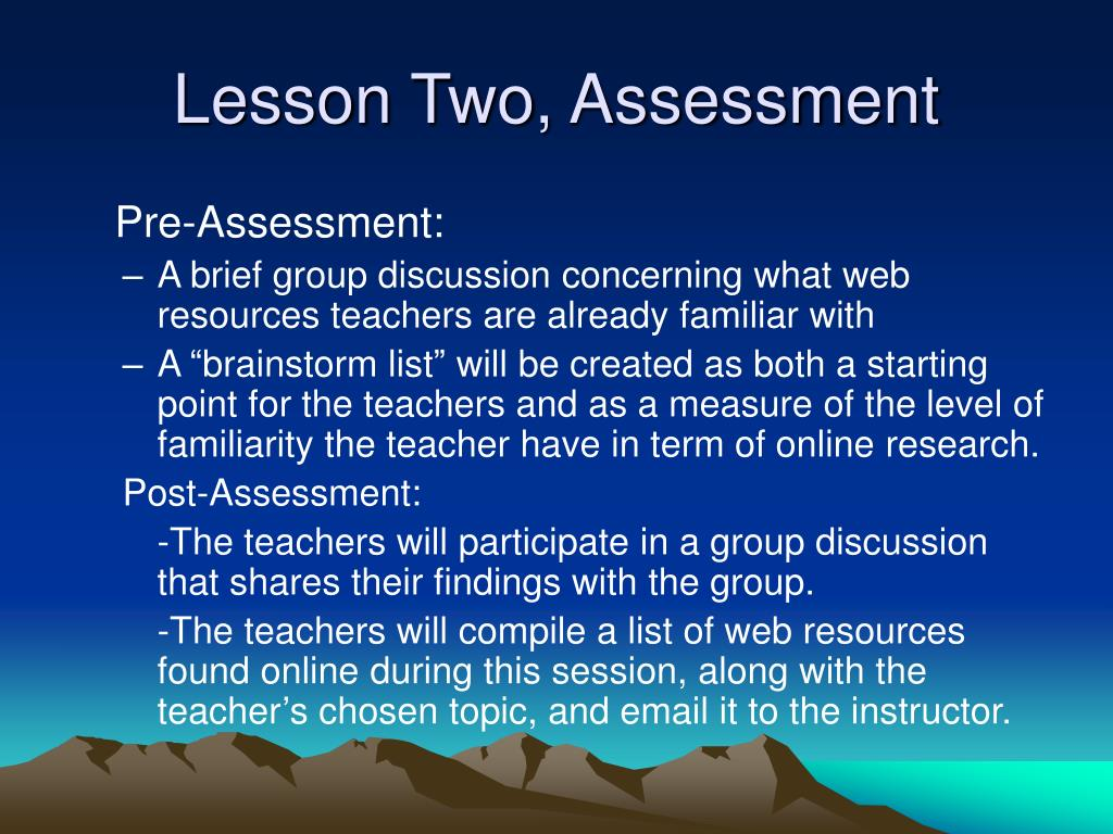 Lesson Two, Assessment