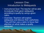 lessson one introduction to webquests