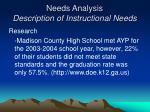 needs analysis description of instructional needs