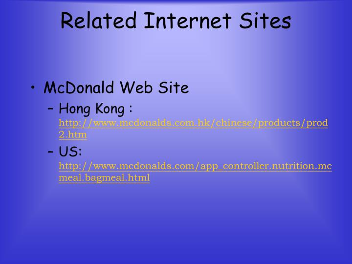 Related Internet Sites