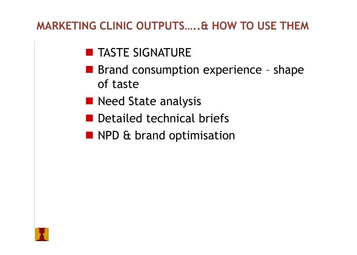 MARKETING CLINIC OUTPUTS…..& HOW TO USE THEM