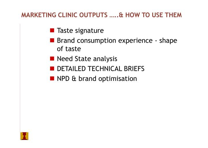 MARKETING CLINIC OUTPUTS …..& HOW TO USE THEM