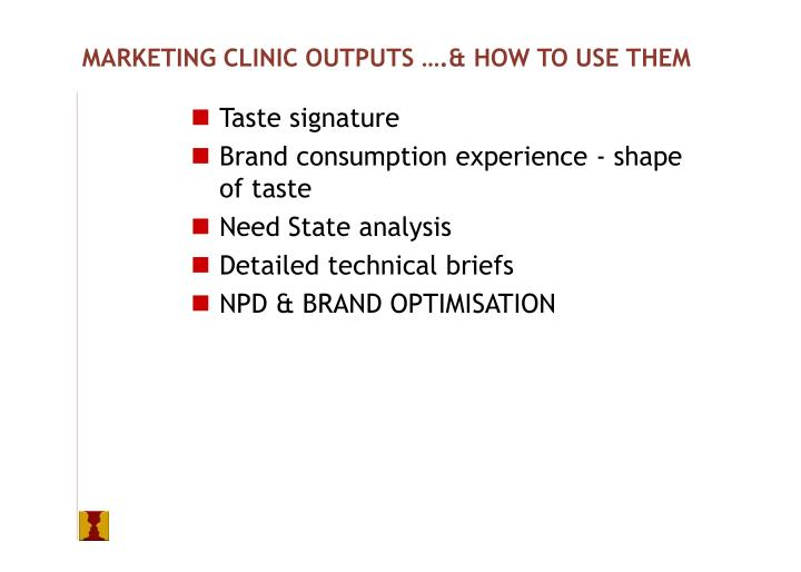 MARKETING CLINIC OUTPUTS ….& HOW TO USE THEM