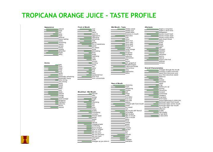 TROPICANA ORANGE JUICE - TASTE PROFILE