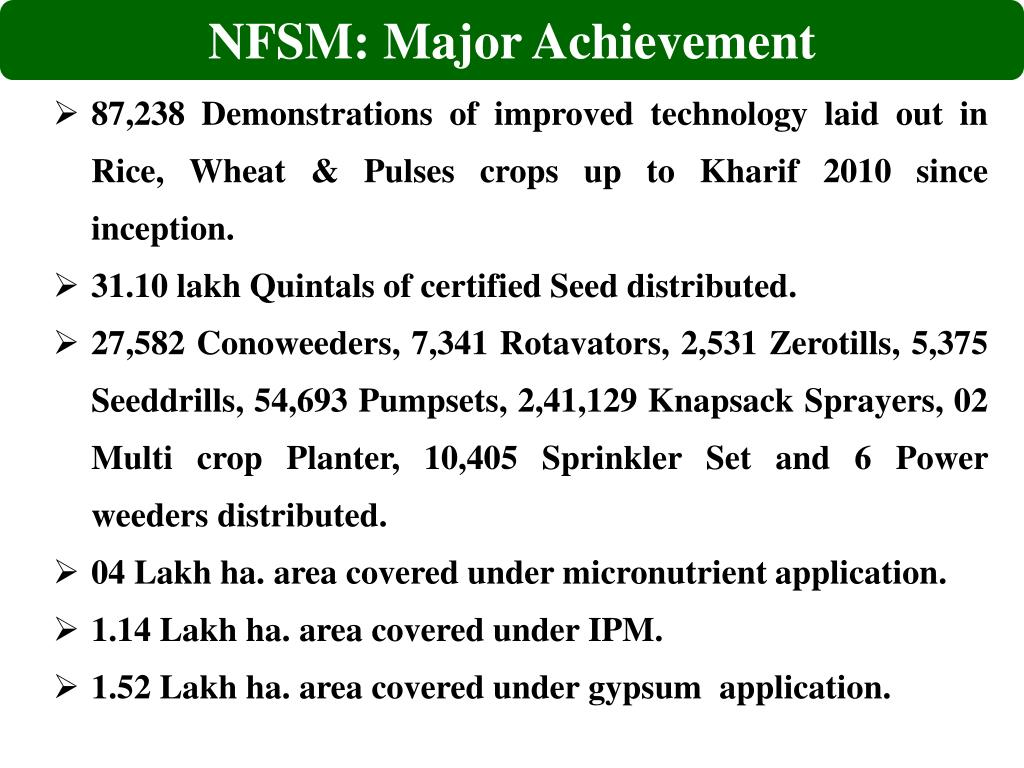 NFSM: Major Achievement