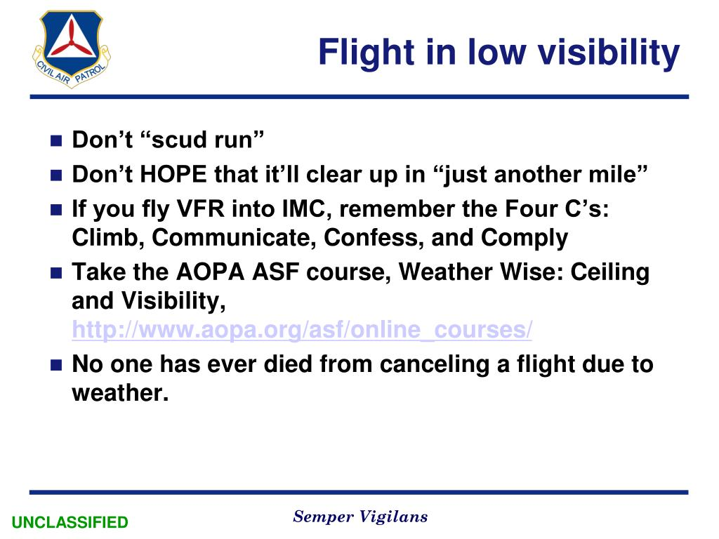 Flight in low visibility