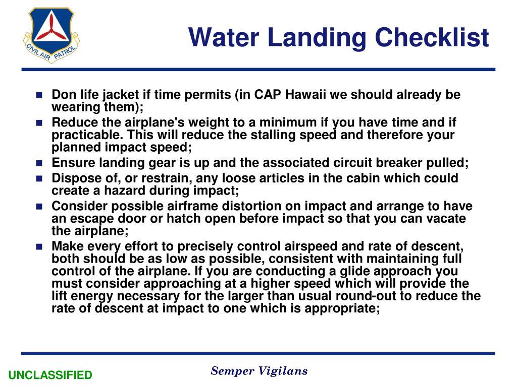 Water Landing Checklist