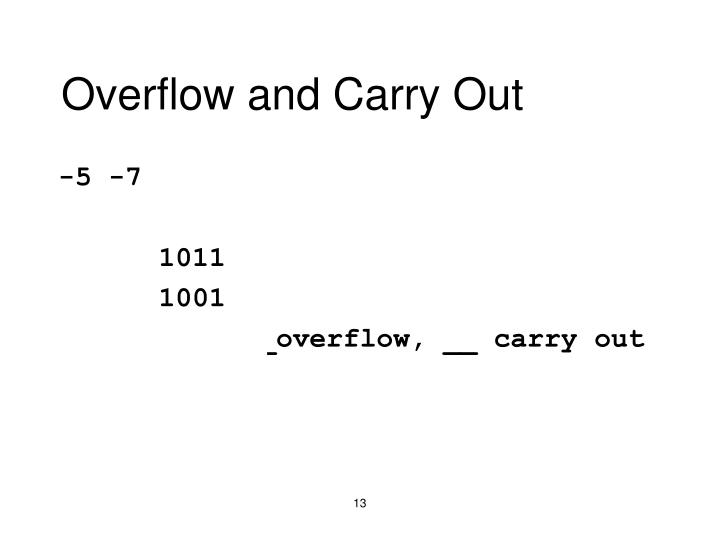 Overflow and Carry Out