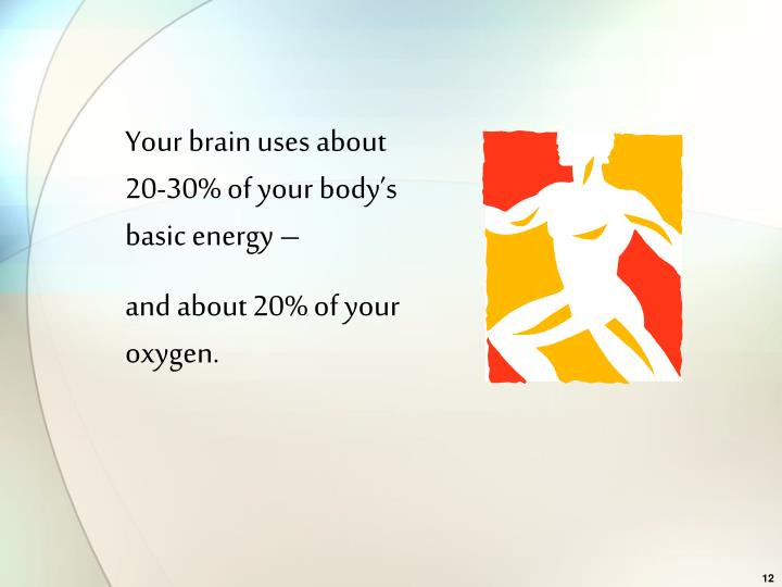 Your brain uses about 20-30% of your body's basic energy –