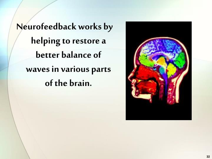 Neurofeedback works by helping to restore a better balance of waves in various parts of the brain.