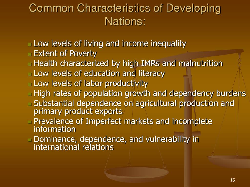 Common Characteristics of Developing Nations: