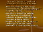 structural diversity of developing economies important observations