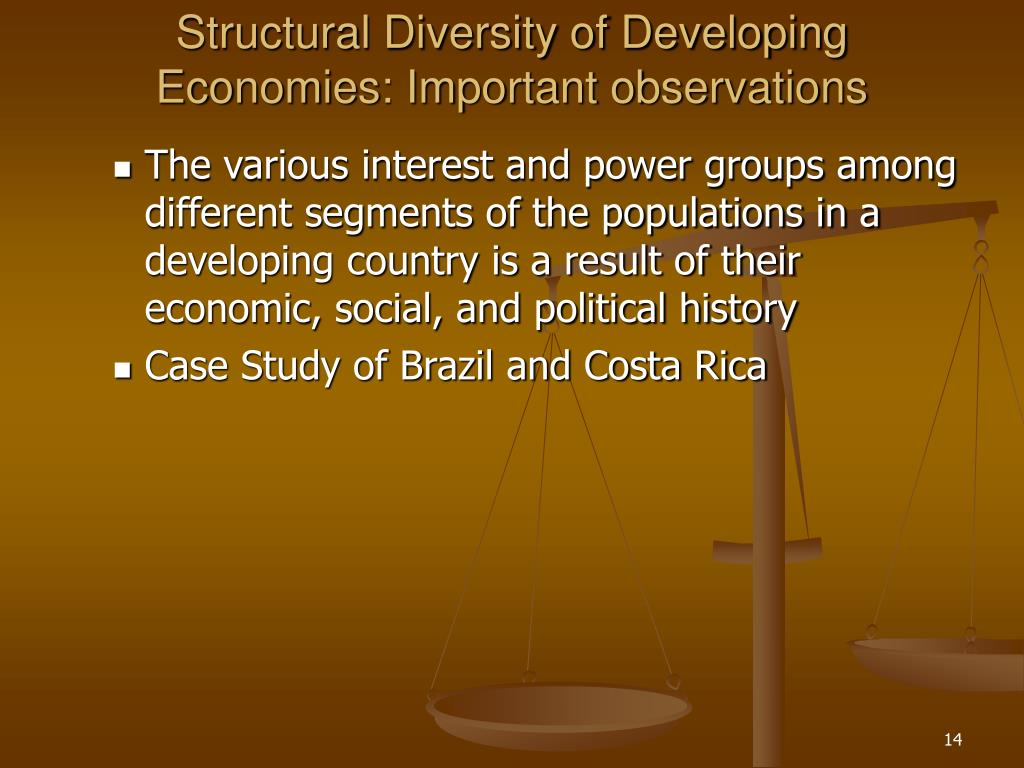Structural Diversity of Developing Economies: Important observations