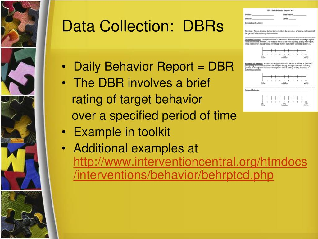 Data Collection:  DBRs
