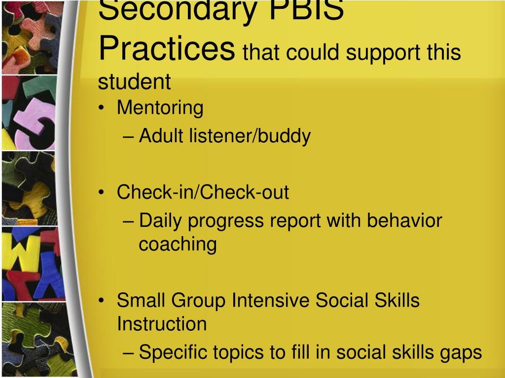 Secondary PBIS Practices