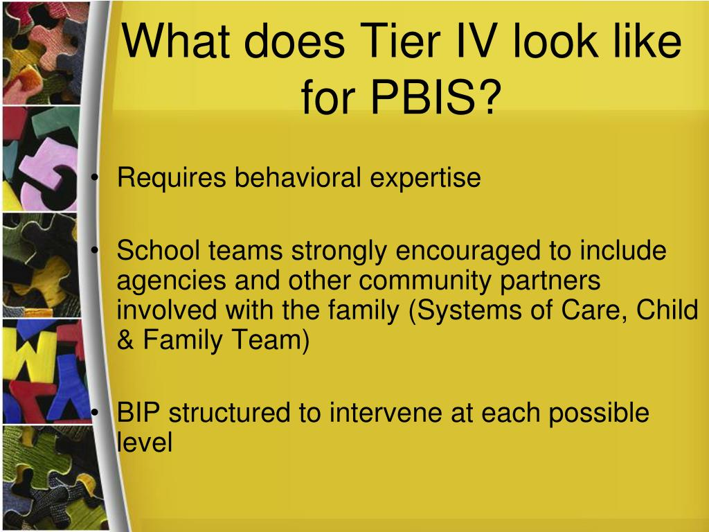 What does Tier IV look like for PBIS?