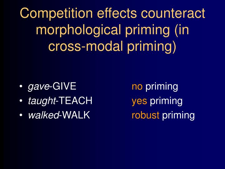 Competition effects counteract morphological priming (in cross-modal priming)