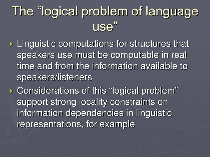 "The ""logical problem of language use"""