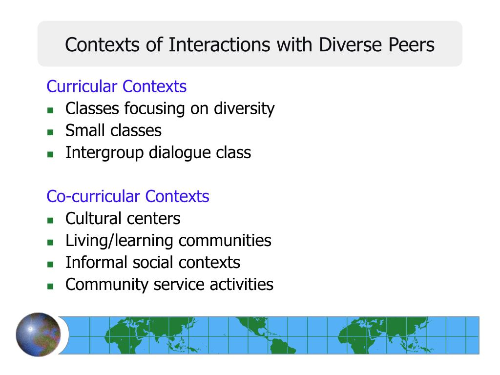 Contexts of Interactions with Diverse Peers