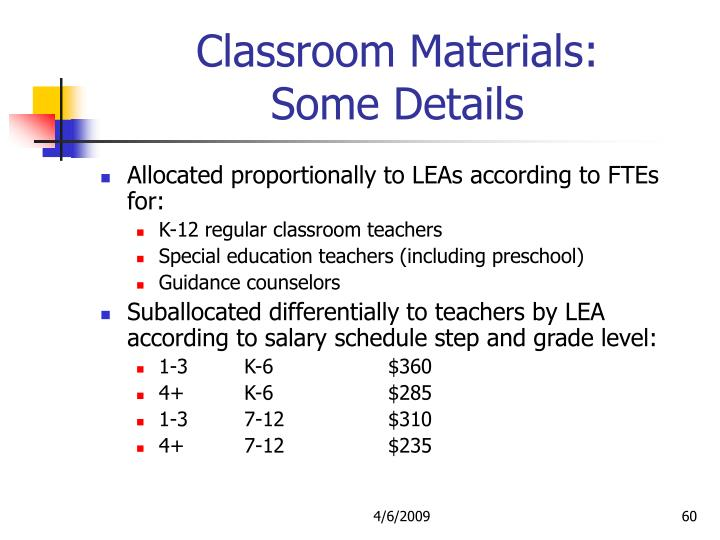 Classroom Materials: