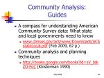 community analysis guides