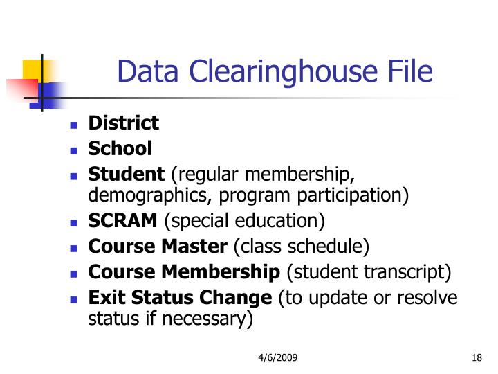 Data Clearinghouse File