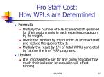 pro staff cost how wpus are determined
