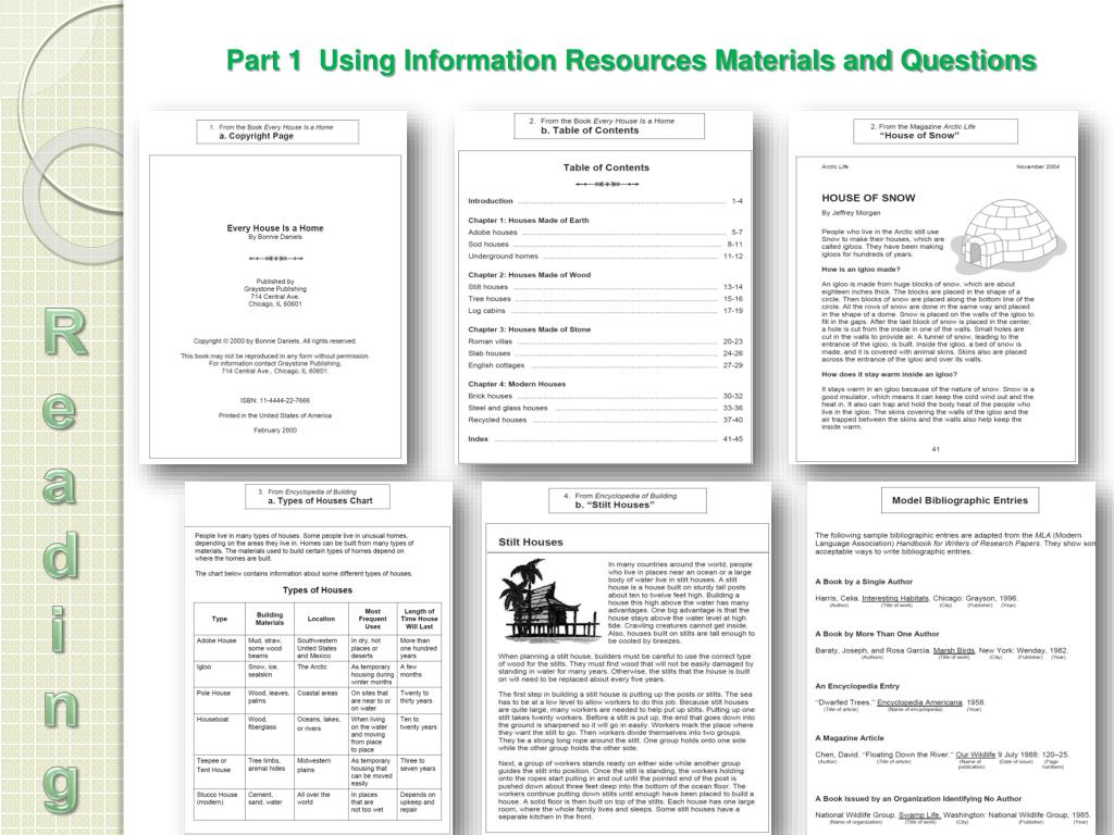 Part 1  Using Information Resources Materials and Questions