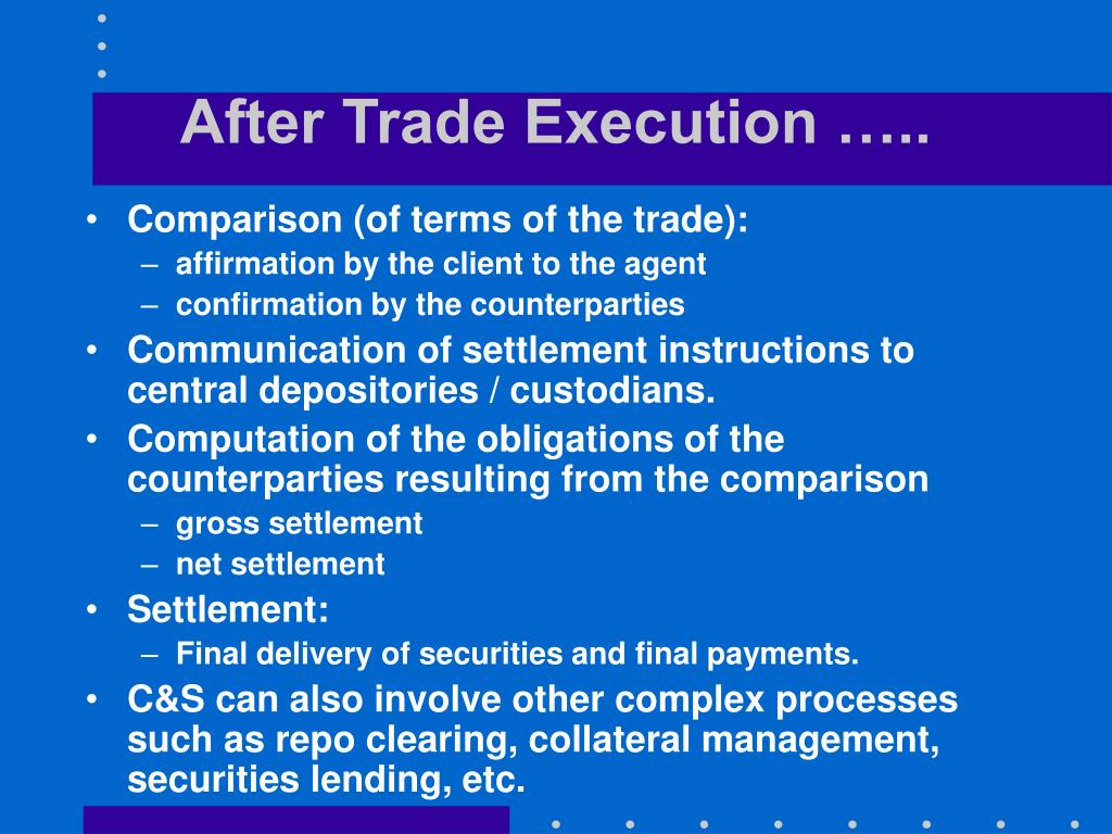 After Trade Execution …..