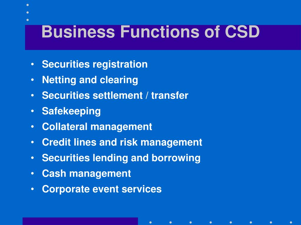 Business Functions of CSD