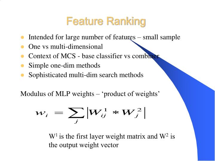 Feature Ranking