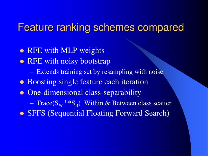 Feature ranking schemes compared