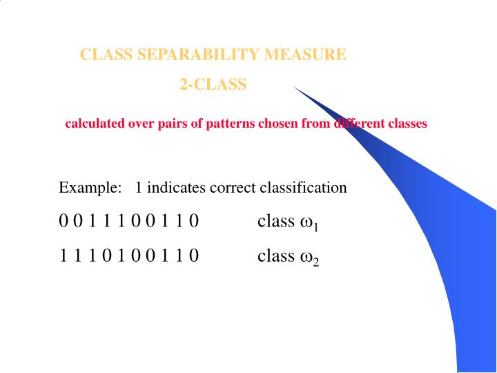 CLASS SEPARABILITY MEASURE