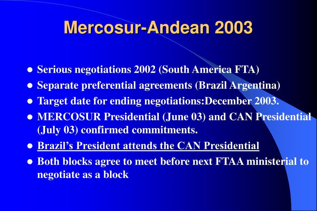 Mercosur-Andean 2003