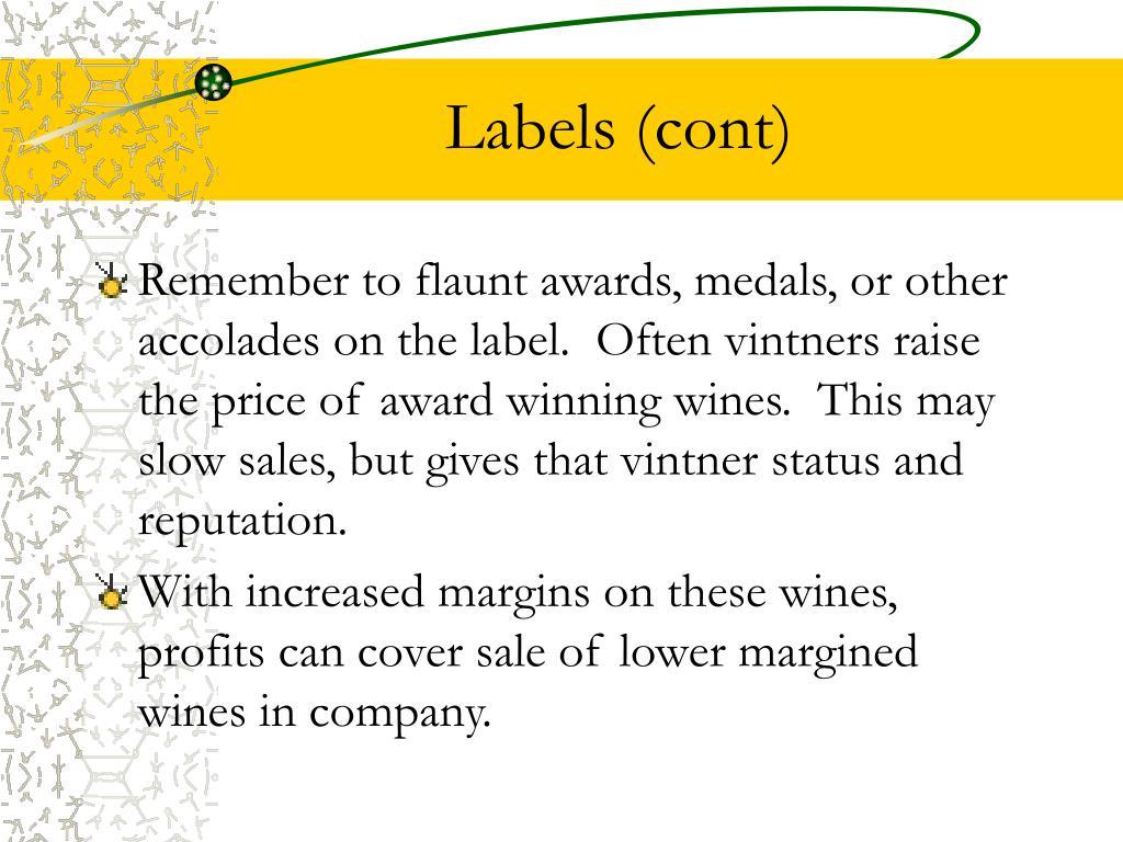 Labels (cont)